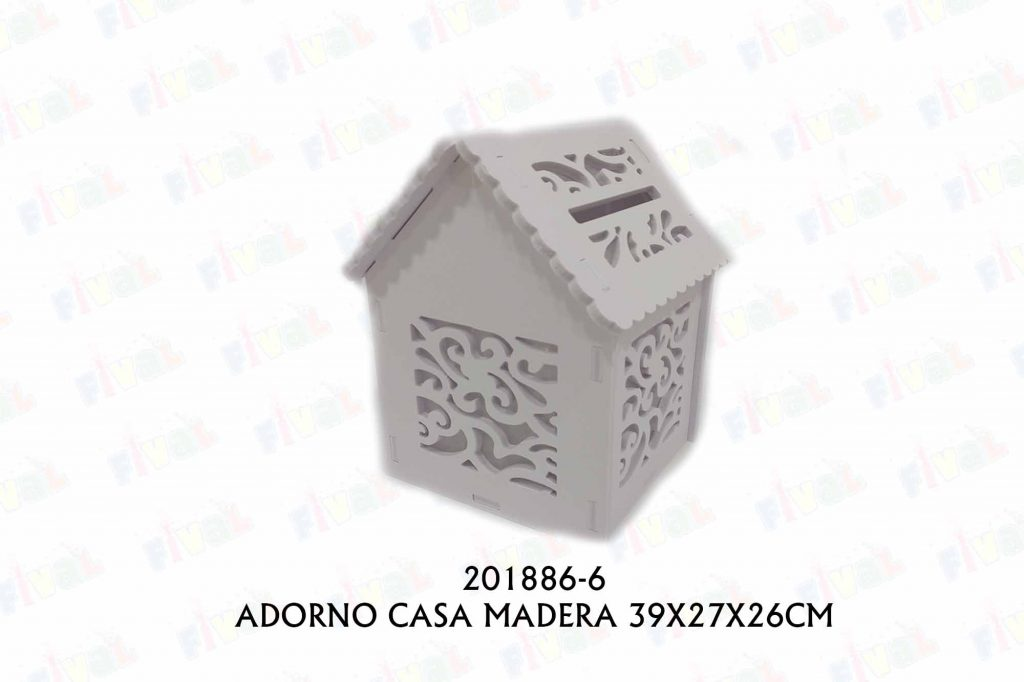 ADORNO MADERA CASA 39X27X26CM